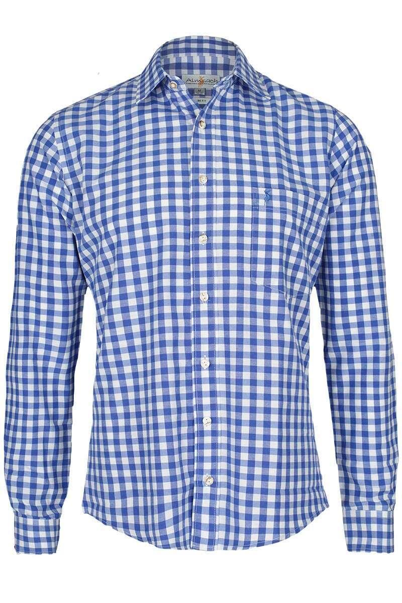 hemd slim fit blau wei kariert 39 patrick 39 trachtenhemden trachtenshirts herren trachten. Black Bedroom Furniture Sets. Home Design Ideas