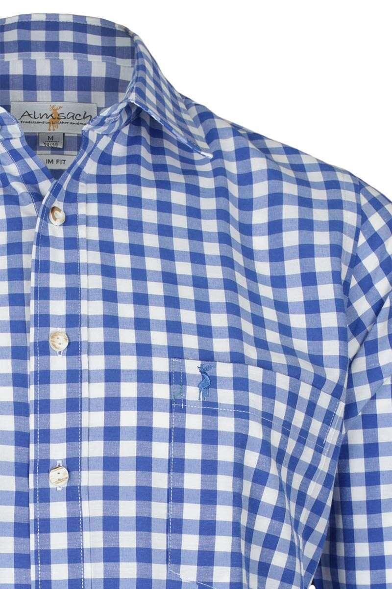 hemd slim fit blau wei kariert 39 patrick 39 slim fit hemden trachtenhemden herren trachten. Black Bedroom Furniture Sets. Home Design Ideas