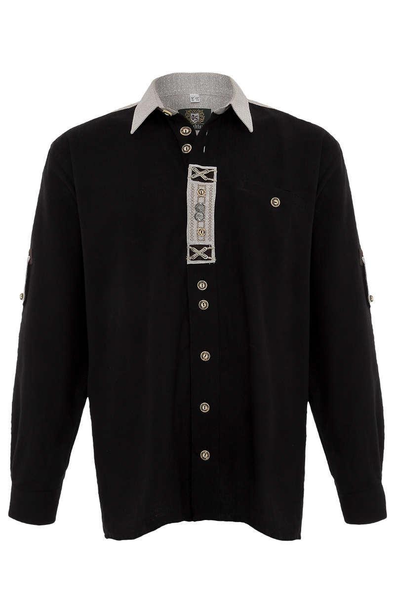 Krempelarm Hemd schwarz