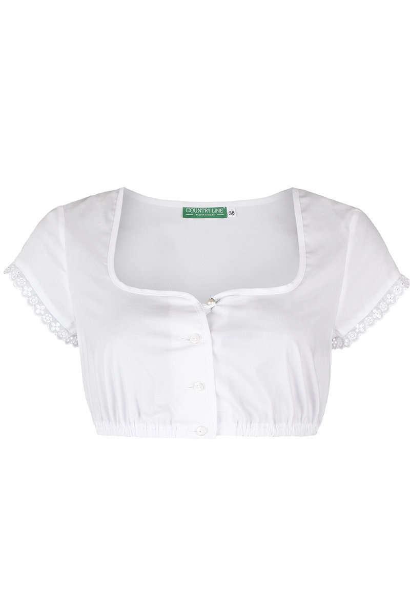 Dirndlbluse kurzarm Trachtenbluse für Dirndl Bluse Trachten Mode weiß waschbar