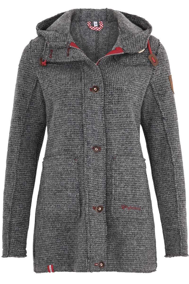 Prächtig Damen Trachten-Jacke lang mit Kapuze grau rot - Damen - Trachten @KJ_17