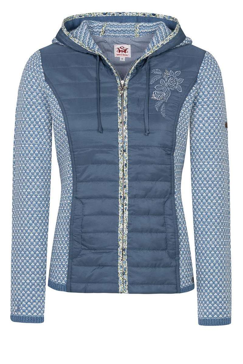 the best attitude 1bc87 17fda Damen Trachten Strick-Steppjacke mit Kapuze blau
