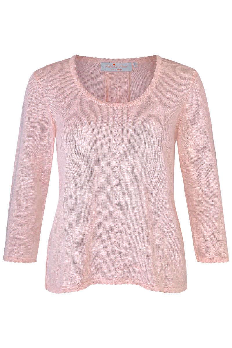 Trachten Pullover mit Zopfmuster und Falte rosa