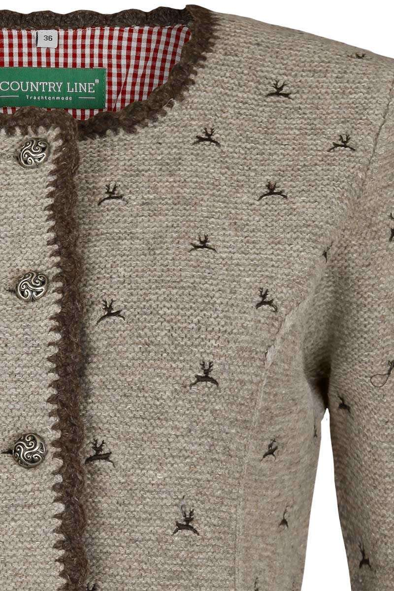 buy popular 97839 221e1 Damen Stickjanker mit Hirschen natur braun