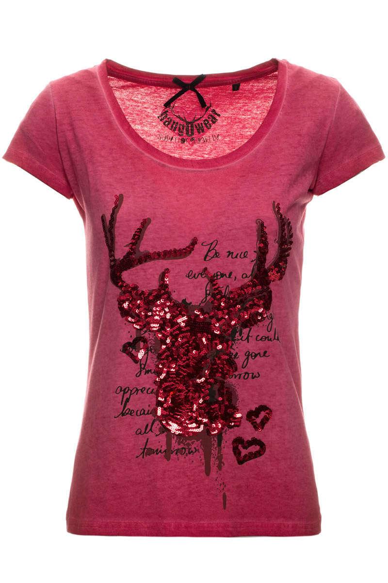 f149cb5ced06da Damen Trachten T-Shirt mit Hirsch rot - Damen - Trachten Werner
