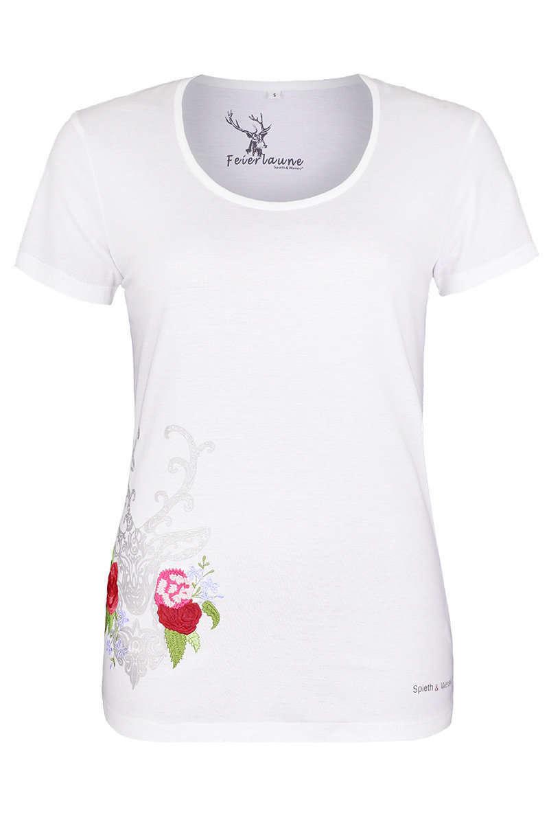 0e491c237399ab Damen Trachten-T-Shirt weiss mit dekorativen Hirsch - Damen ...