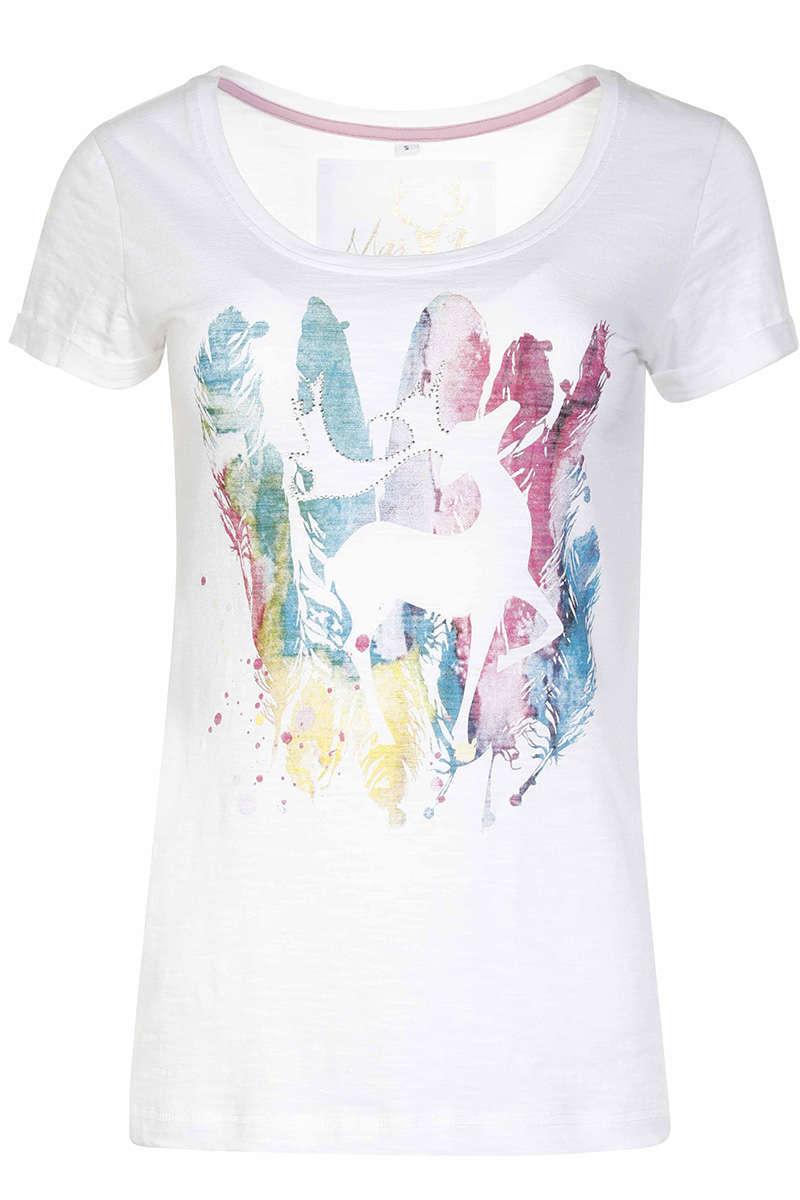 85a46bb1ca70d5 Damen Trachten T-Shirt Federhirsch Weiß - Damen - Trachten Werner