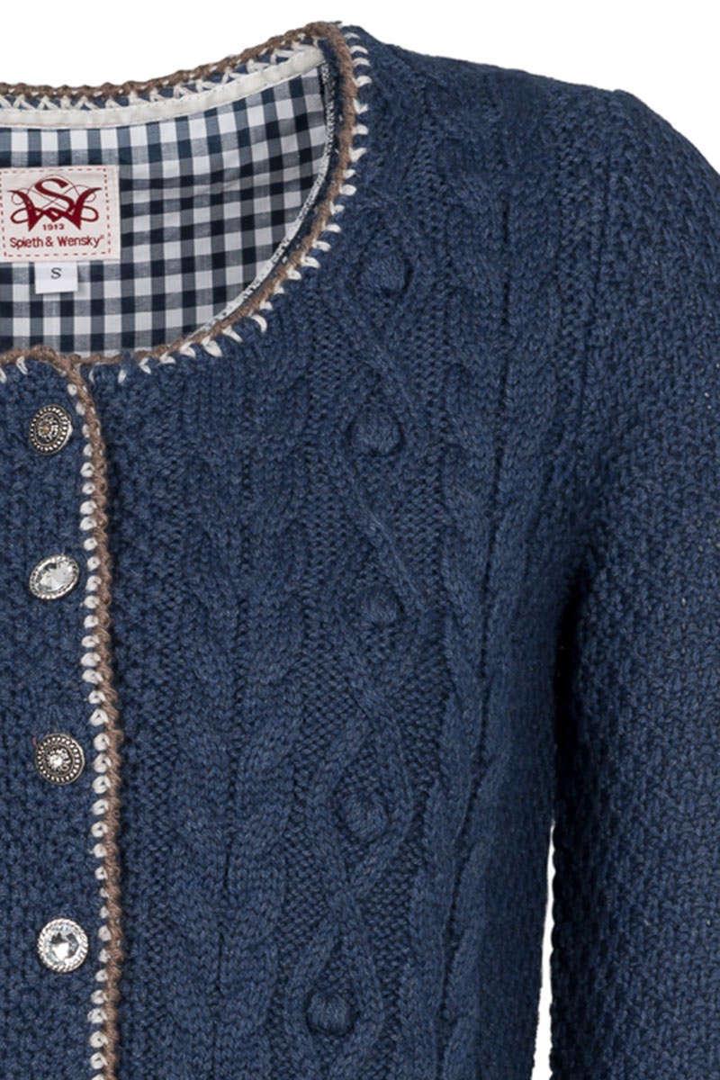 0397b339e11cf7 Damen Strickjacke mit Zopfmuster jeansblau nuss - Strickjacken ...