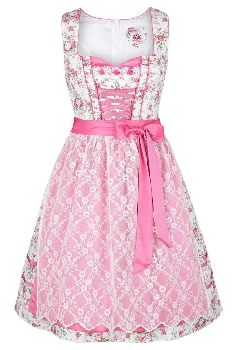 f34fc6714c7478 Dirndl Spitzen-/ Doppelschürze Blumen rosa - Dirndl Damen - Trachten ...