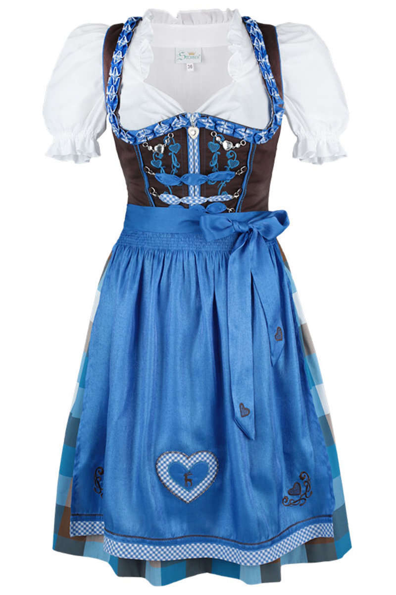 dirndl kurz blau braun 39 iris 39 dirndl mini damen. Black Bedroom Furniture Sets. Home Design Ideas