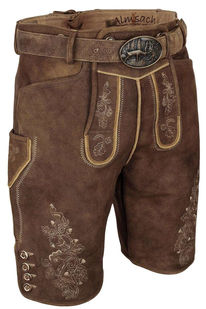 herren hirsch lederhose kurz mit g rtel beige braun kurze lederhosen trachten lederhosen. Black Bedroom Furniture Sets. Home Design Ideas