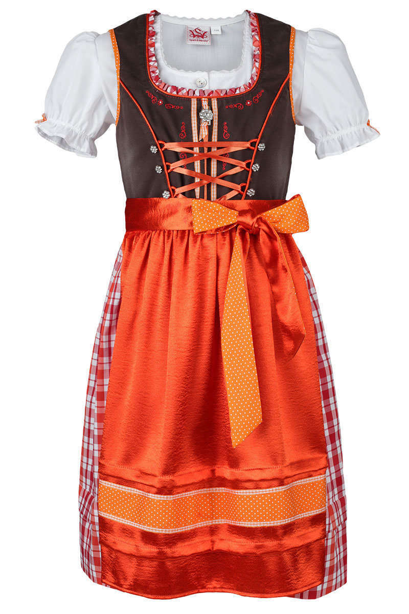 teenie dirndl mit bluse braun rot orange kinderdirndl kinder trachten werner leichtl ohg. Black Bedroom Furniture Sets. Home Design Ideas