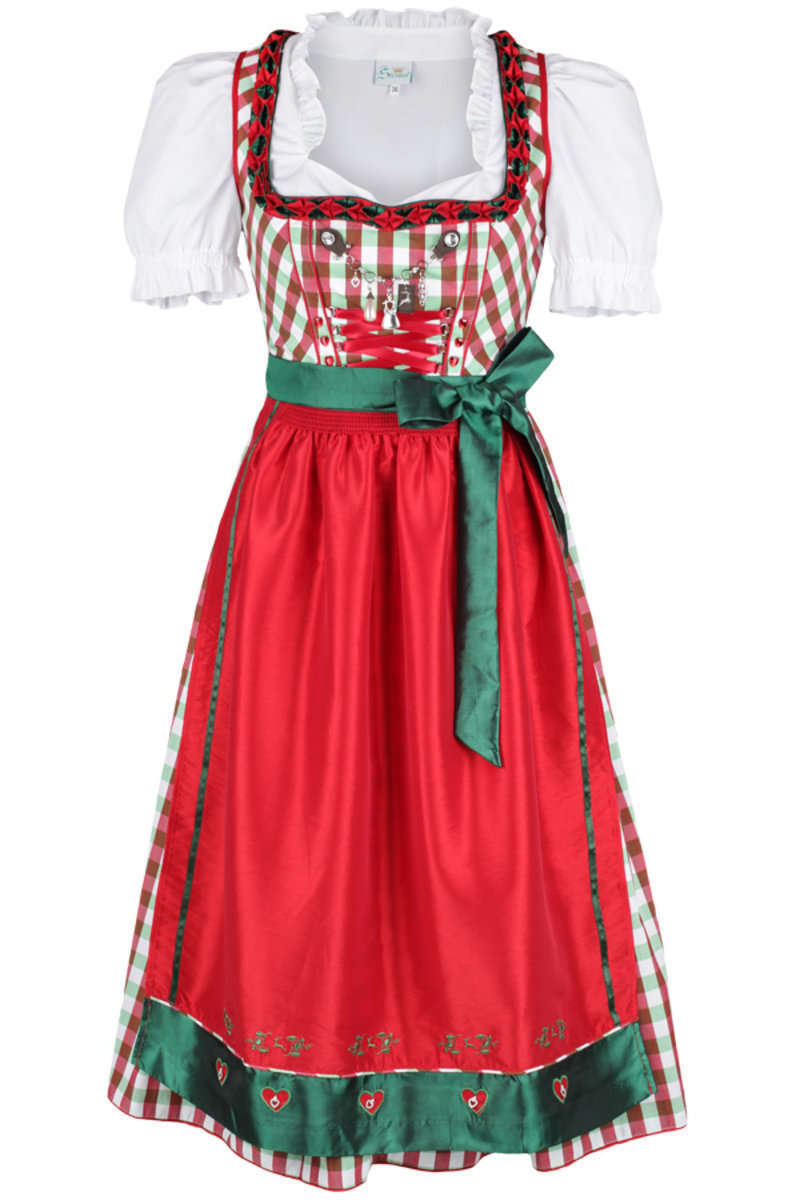 knielanges dirndl gr n rot wei kariert 39 emma 39 damen. Black Bedroom Furniture Sets. Home Design Ideas