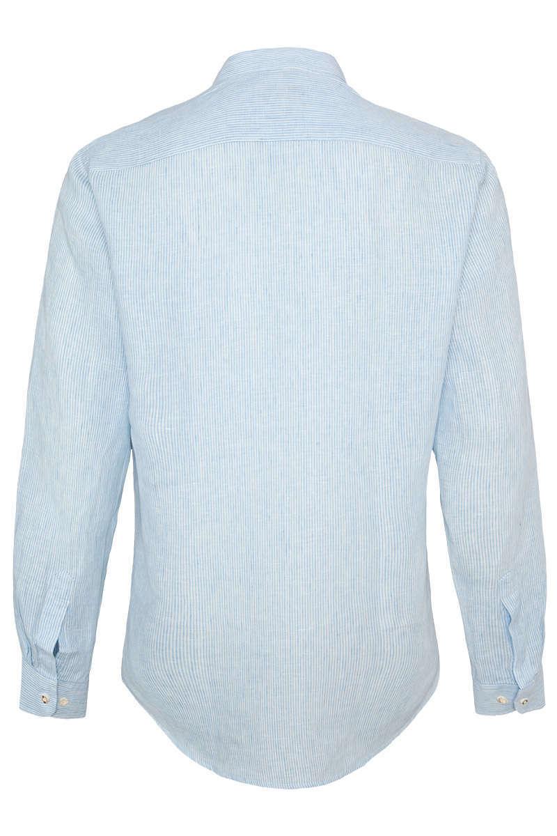 Almsach Herren Trachten Leinenhemd Stehbund Slim lightblue