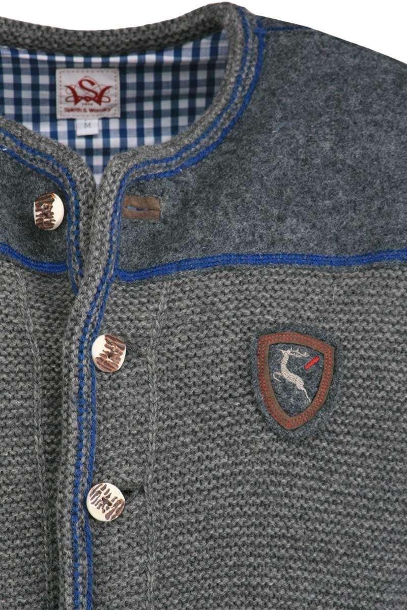 trachten strickjacke grau blau 39 anderl 39 herren trachten werner leichtl ohg. Black Bedroom Furniture Sets. Home Design Ideas