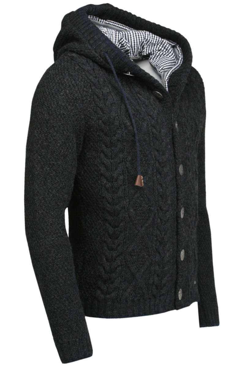 strickjacke herren grau mit kapuze long sweater jacket. Black Bedroom Furniture Sets. Home Design Ideas
