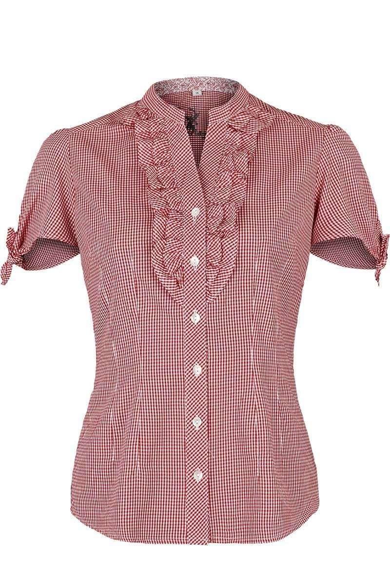 vorbestellen bester Verkauf Shop für neueste Trachten Bluse kurzarm mit Rüschen kariert rot
