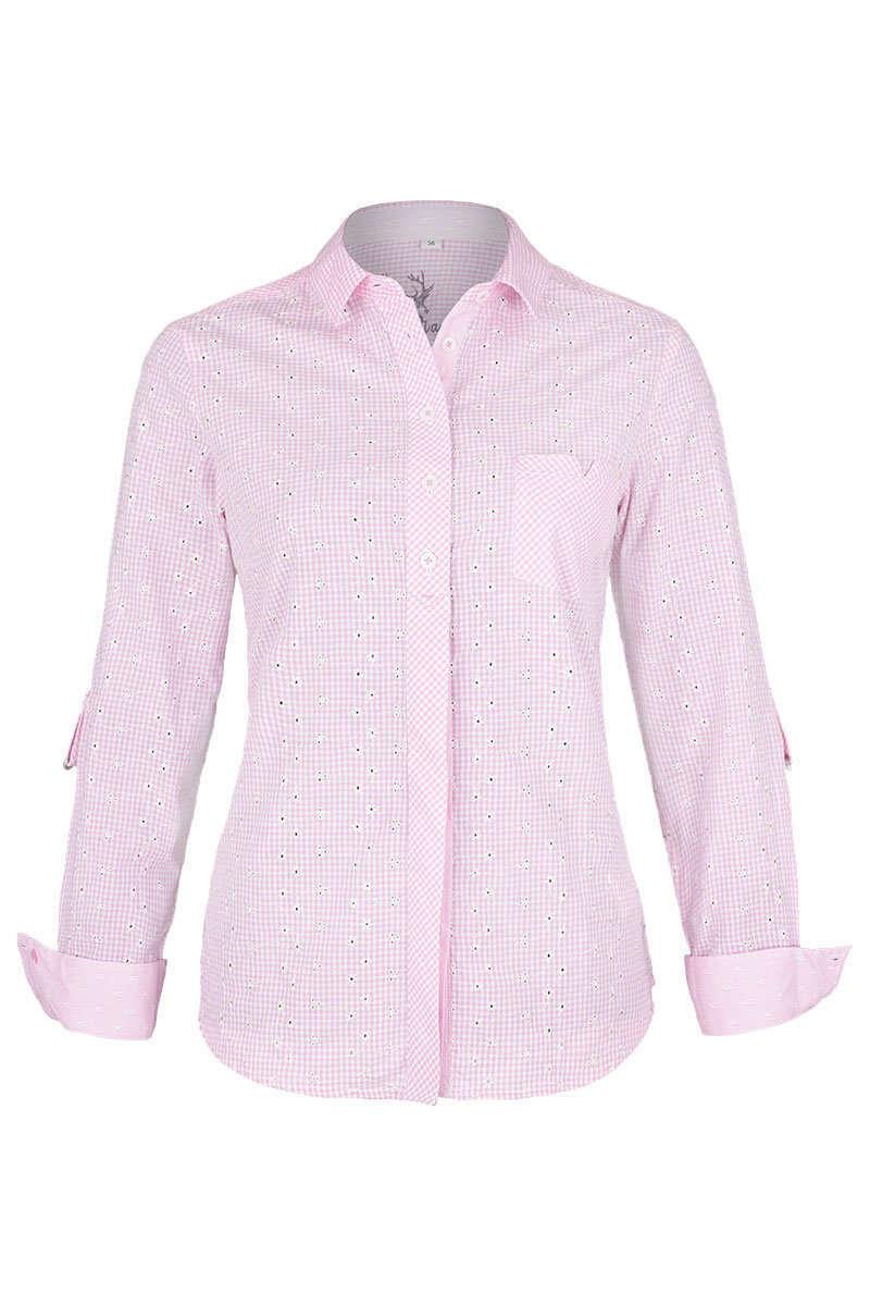 damen trachtenbluse langarm blumenstickerei rosa blusen. Black Bedroom Furniture Sets. Home Design Ideas