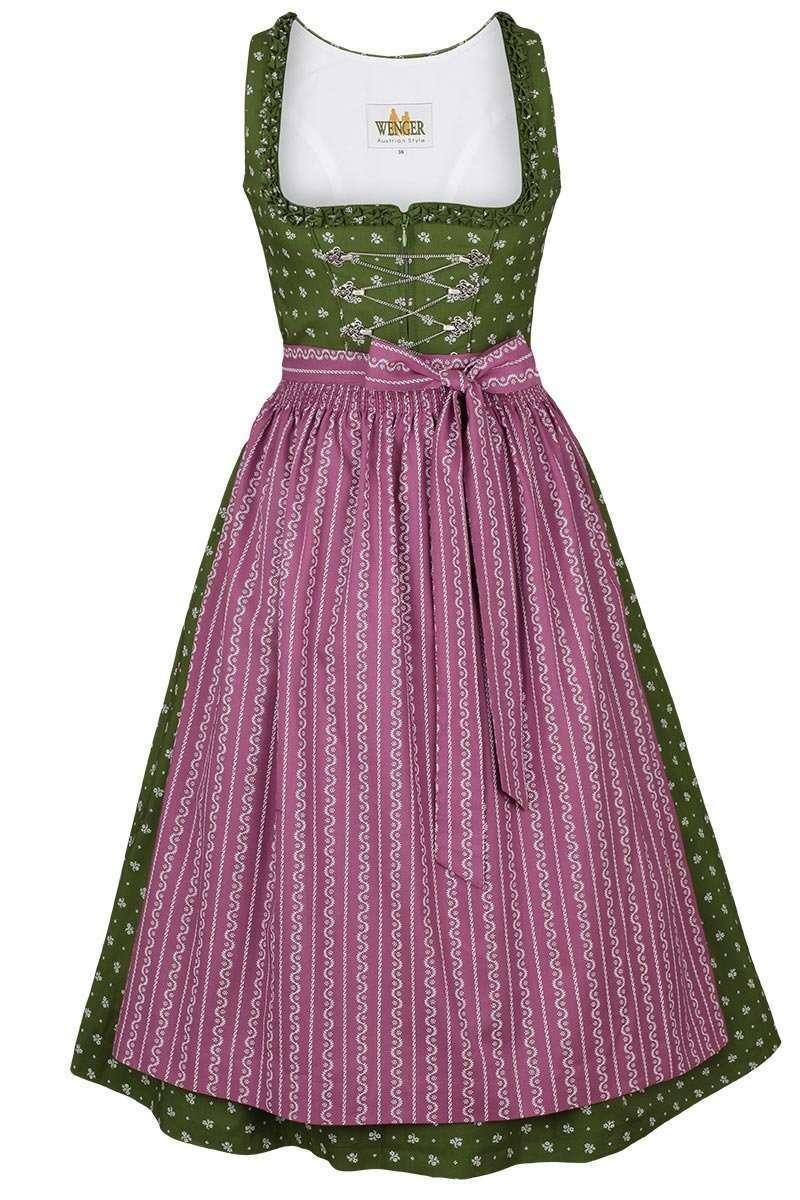 87b56d56bde661 Baumwolldirndl midi grün lila - Dirndl Damen - Trachten Werner