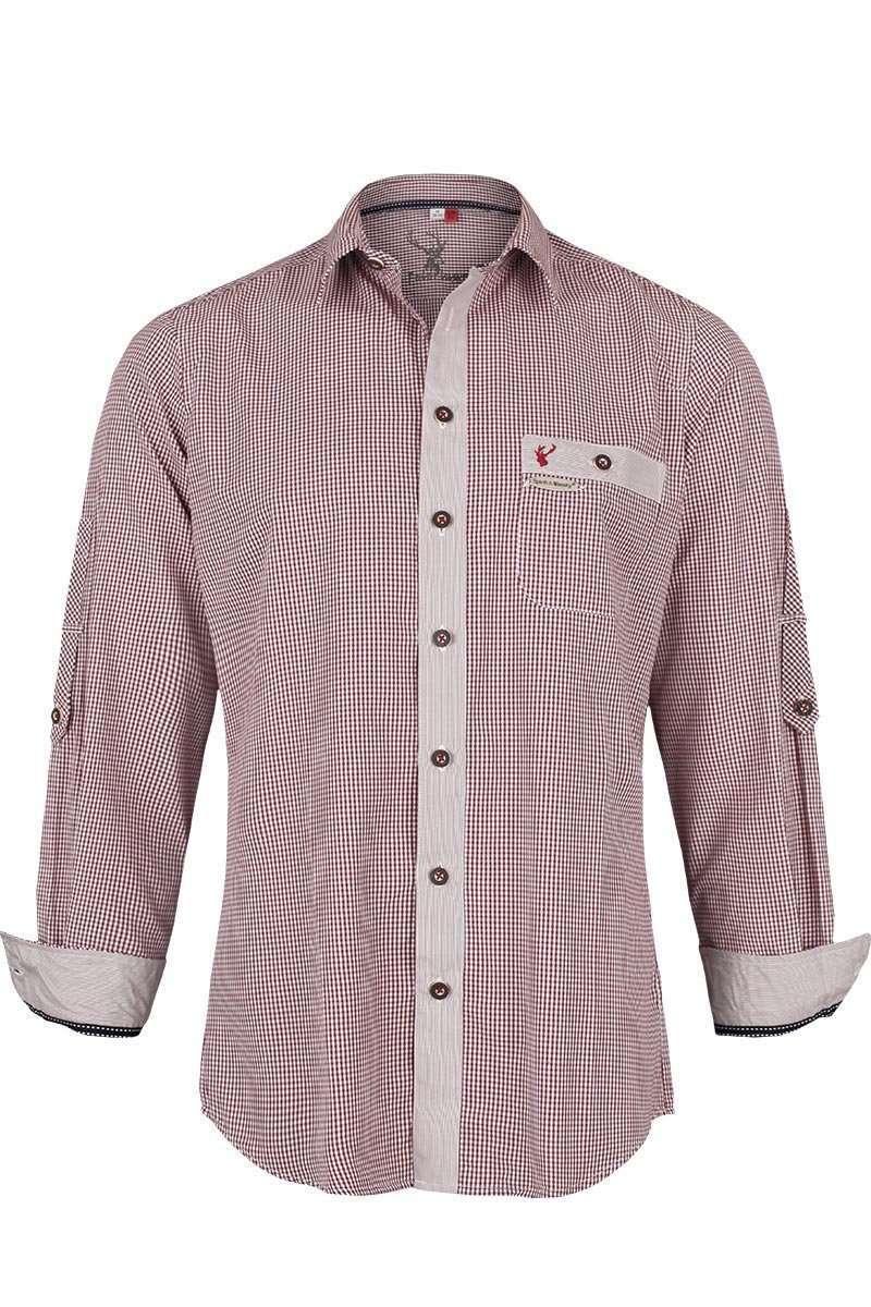 trachtenhemd slim fit rot kariert trachtenhemden trachtenshirts herren trachten werner. Black Bedroom Furniture Sets. Home Design Ideas