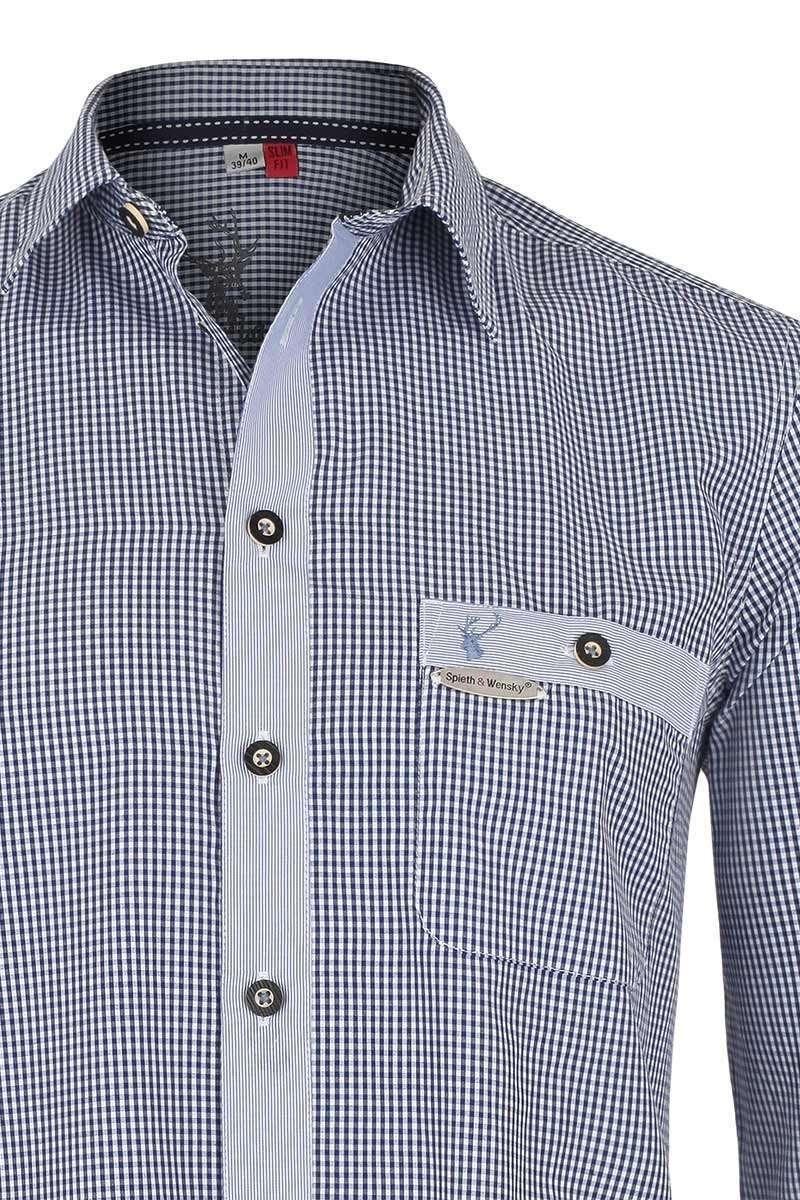trachtenhemd slim fit blau kariert trachtenhemden trachtenshirts herren trachten werner. Black Bedroom Furniture Sets. Home Design Ideas