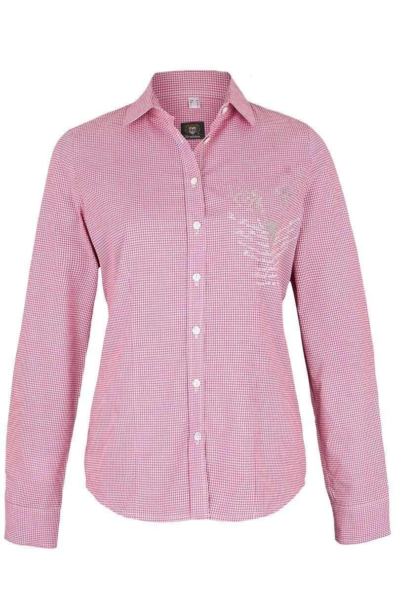trachten bluse langarm strass pink wei karo damen. Black Bedroom Furniture Sets. Home Design Ideas