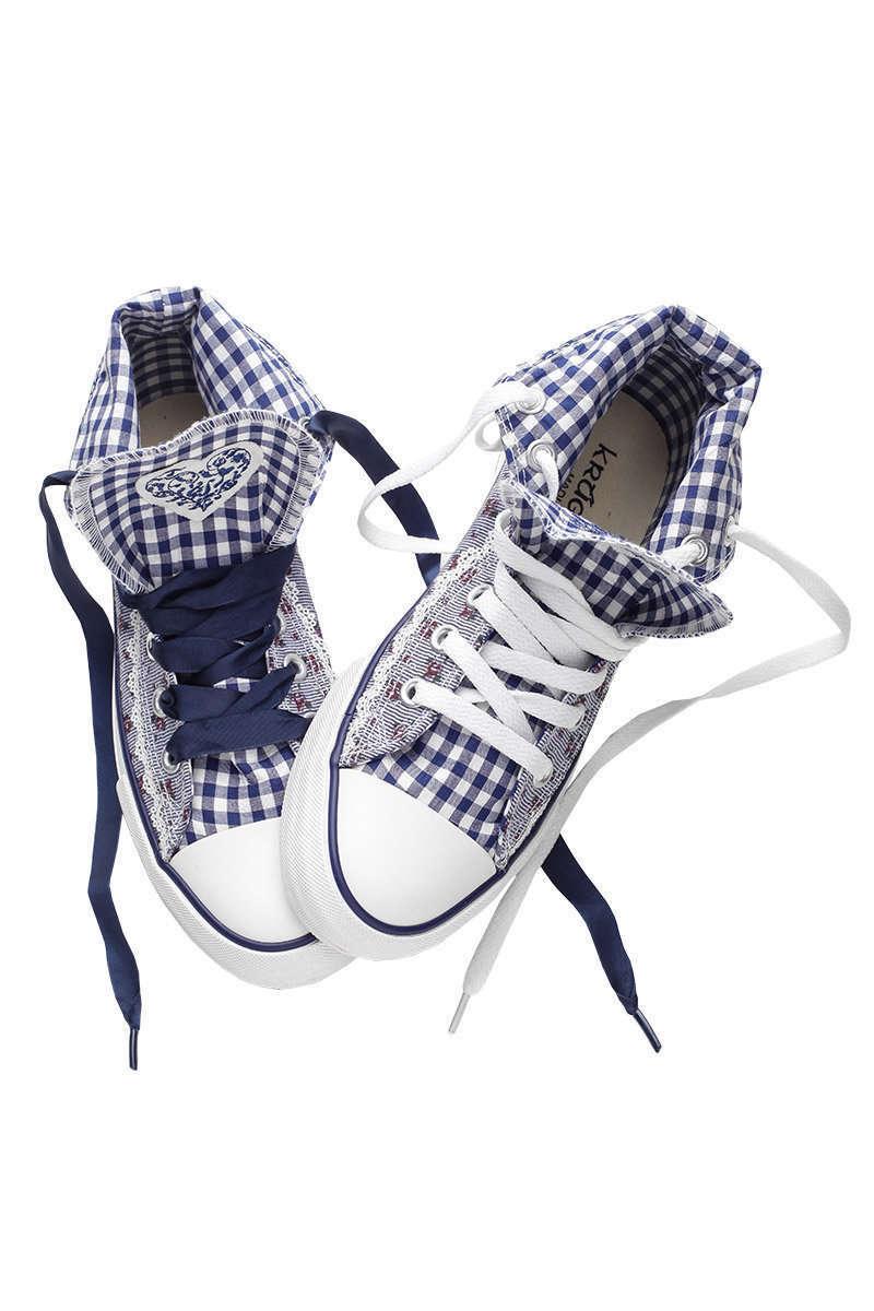 damen sneaker im chucks look blau wei mit bl mchendruck. Black Bedroom Furniture Sets. Home Design Ideas