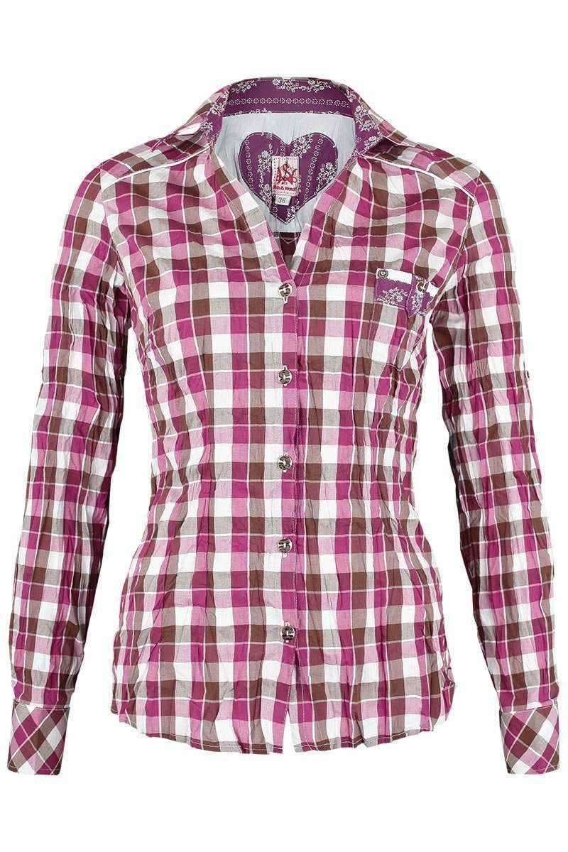 Bluse Crash-Optik kariert pink