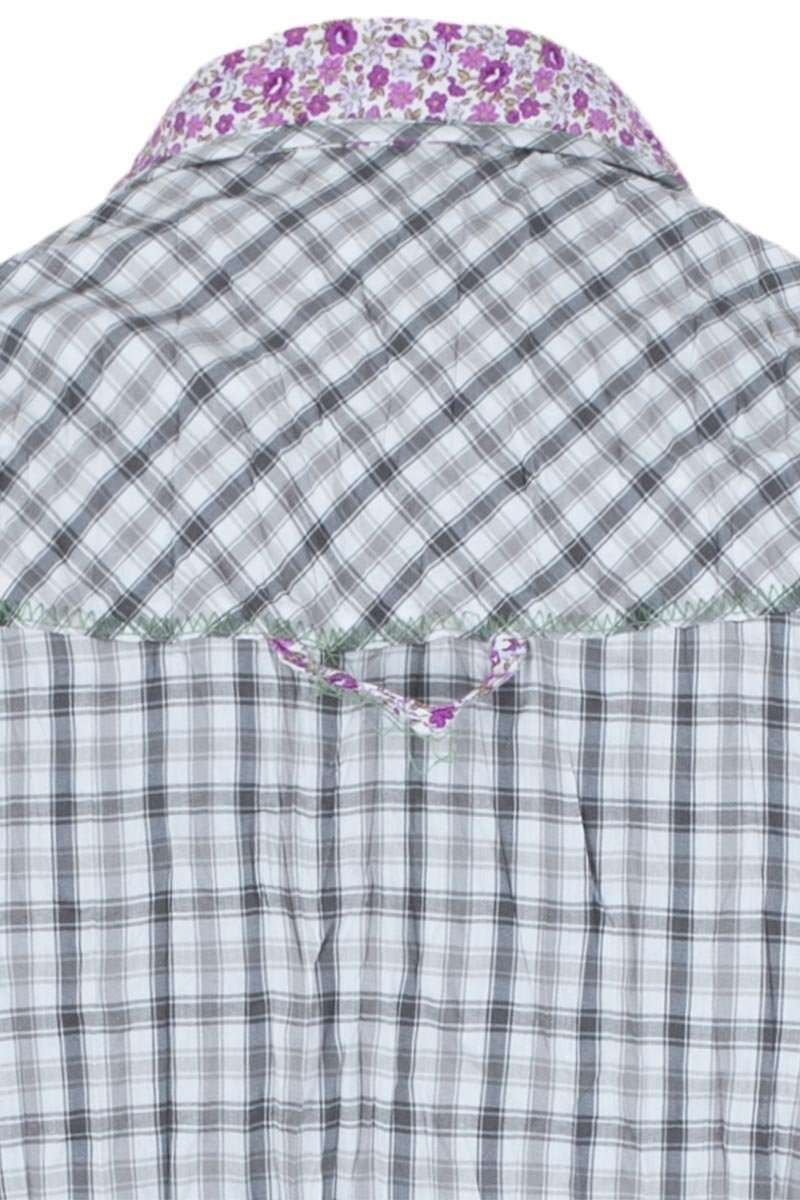 Bluse Crash-Optik Blumenstoffapplikation grau Bild 2