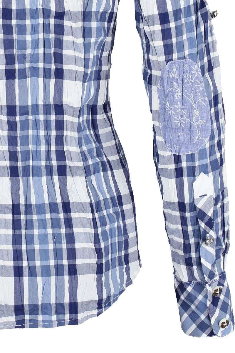 bluse crash optik kariert blau blusen langarm damen trachten werner leichtl ohg. Black Bedroom Furniture Sets. Home Design Ideas