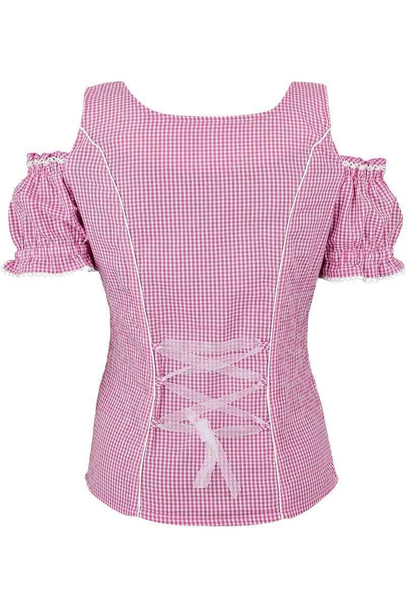 carmenbluse mit stickerei kariert pink blusen kurzarm. Black Bedroom Furniture Sets. Home Design Ideas