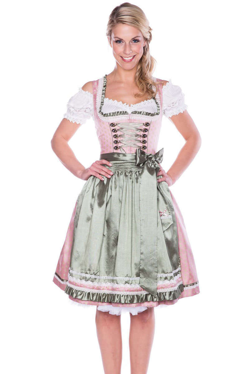 kr ger dirndl kurz rosa gr n dirndl mini damen. Black Bedroom Furniture Sets. Home Design Ideas