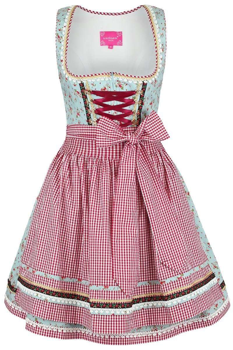 kr ger dirndl kurz hellblau rot erdbeeren dirndl mini. Black Bedroom Furniture Sets. Home Design Ideas