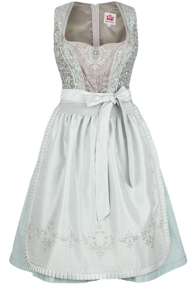 Dirndl kurz florales Muster taupe-mint