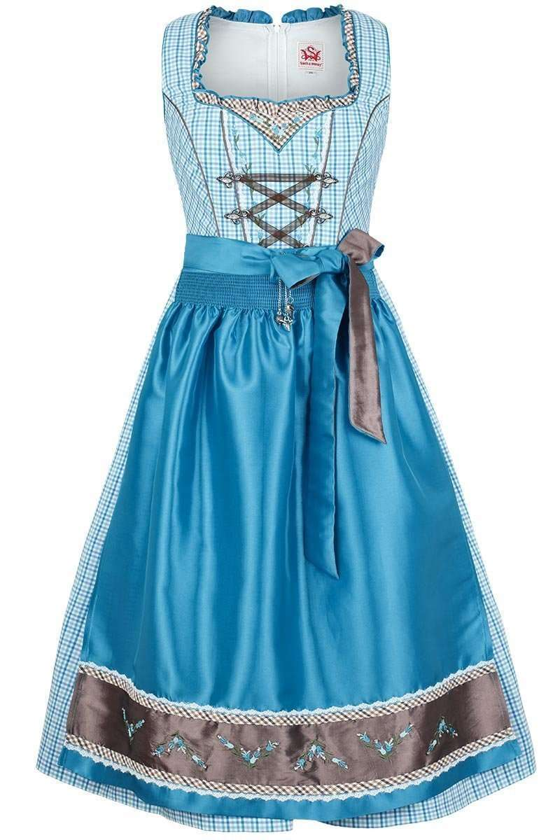 dirndl mittel aqua wei kleinkariert dirndl midi damen. Black Bedroom Furniture Sets. Home Design Ideas