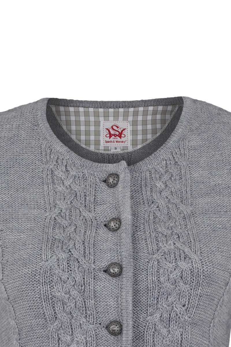 sale retailer 6e8b9 ad78b Damen Trachten Strickjacke mit Zopfmuster grau