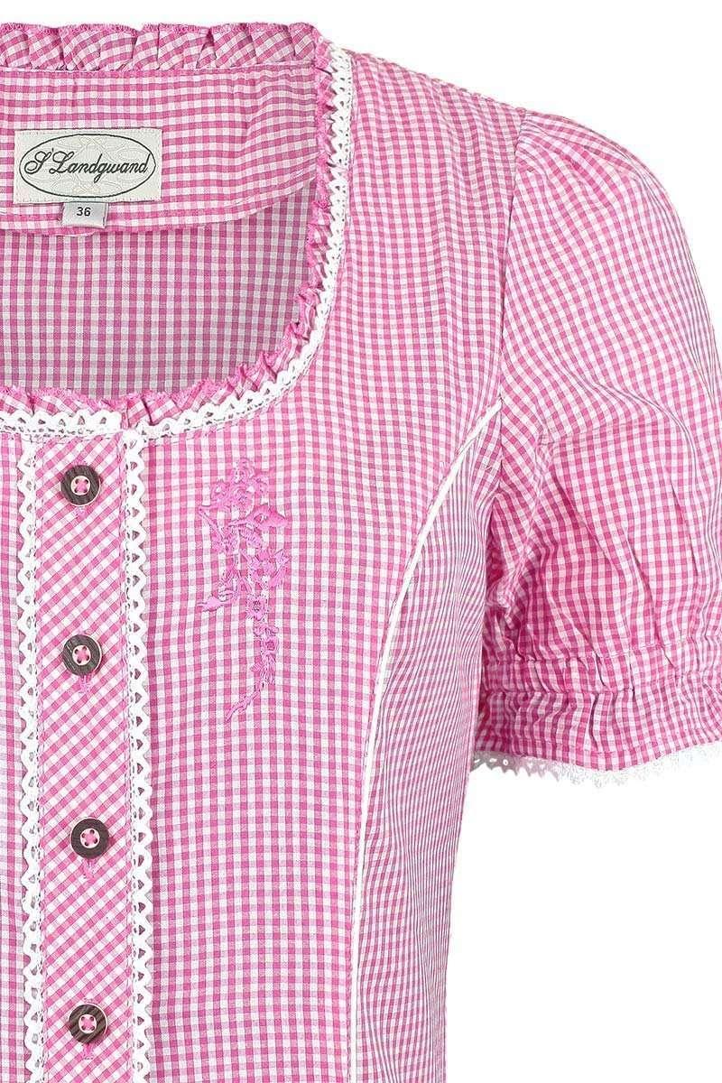 miederbluse mit stickerei kariert pink blusen kurzarm. Black Bedroom Furniture Sets. Home Design Ideas