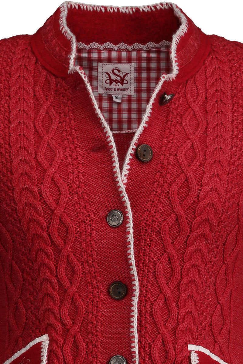 strickjacke mit zopfmuster und stehkragen rot trachtenjacken trachtenwesten damen trachten. Black Bedroom Furniture Sets. Home Design Ideas