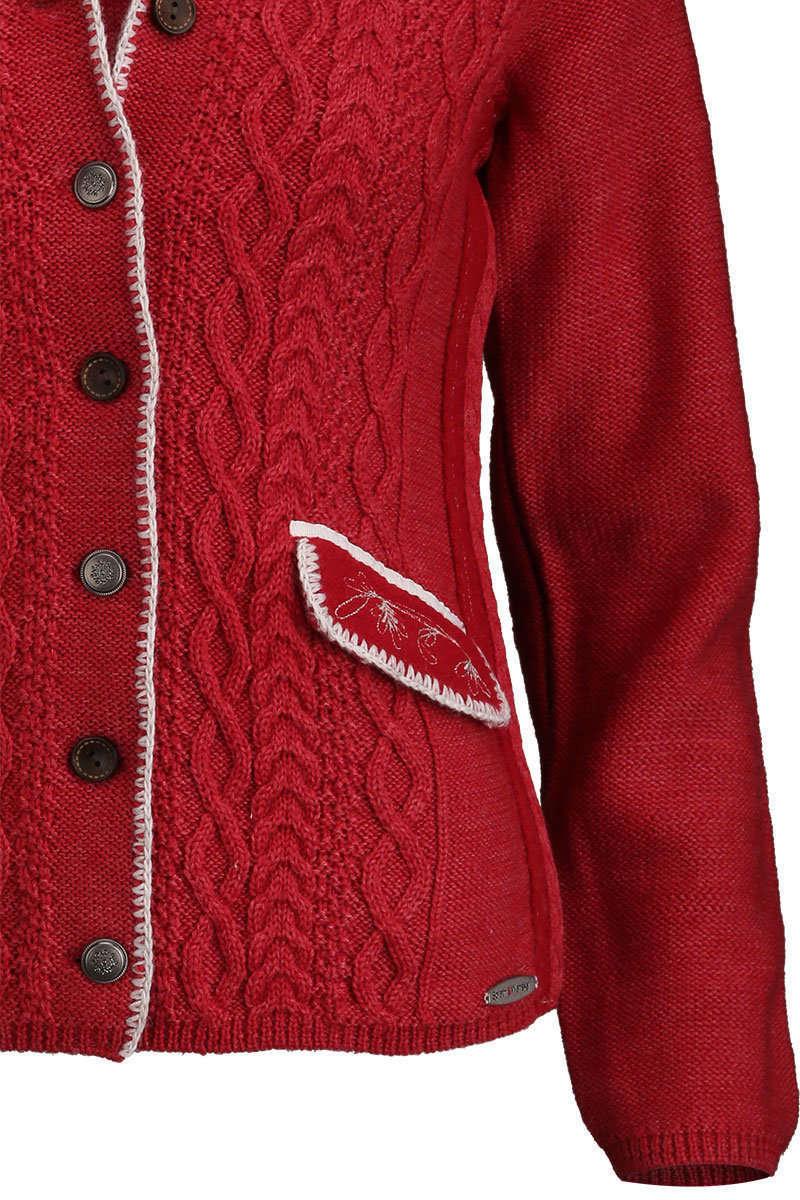 strickjacke mit zopfmuster und stehkragen rot jacken und. Black Bedroom Furniture Sets. Home Design Ideas