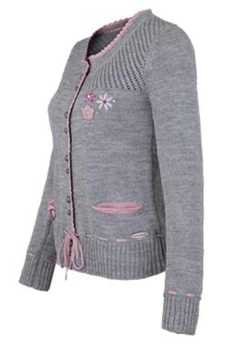 trachten strickjacke mit blumenapplikation grau rosa jacken und janker damen trachten werner. Black Bedroom Furniture Sets. Home Design Ideas