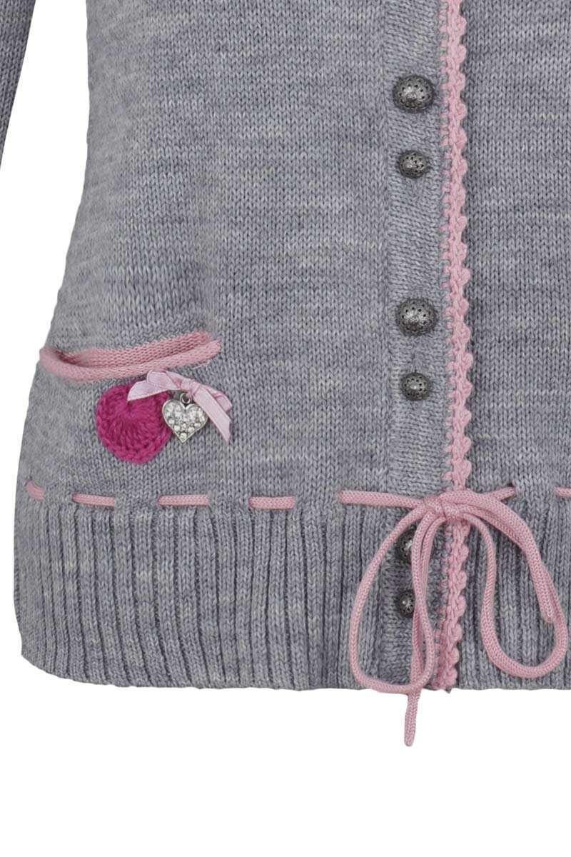 trachten strickjacke mit blumenapplikation grau rosa trachtenjacken trachtenwesten damen. Black Bedroom Furniture Sets. Home Design Ideas