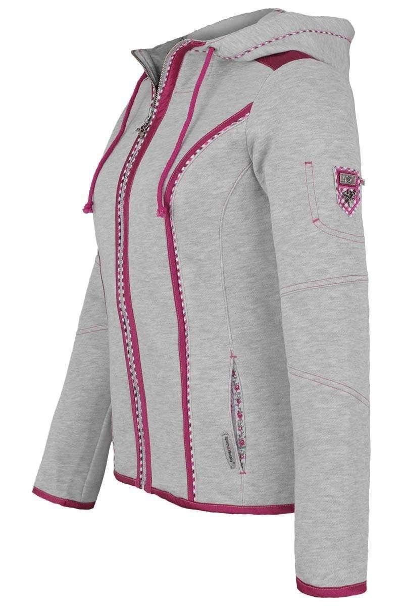 damen trachten sweatjacke mit kapuze grau pink jacken und janker damen trachten werner. Black Bedroom Furniture Sets. Home Design Ideas