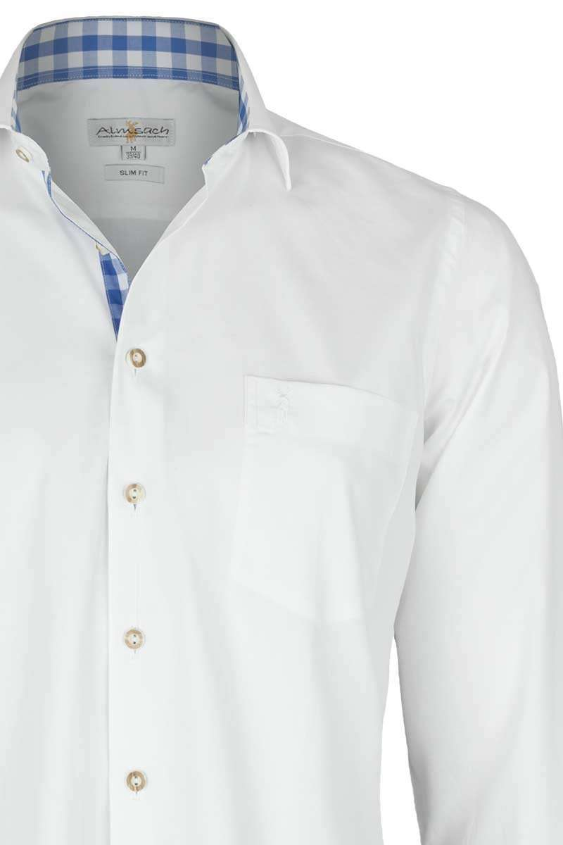 Hemd Slim Fit weiß mit karierten Details blau - Trachtenhemden ... 4e073c7548