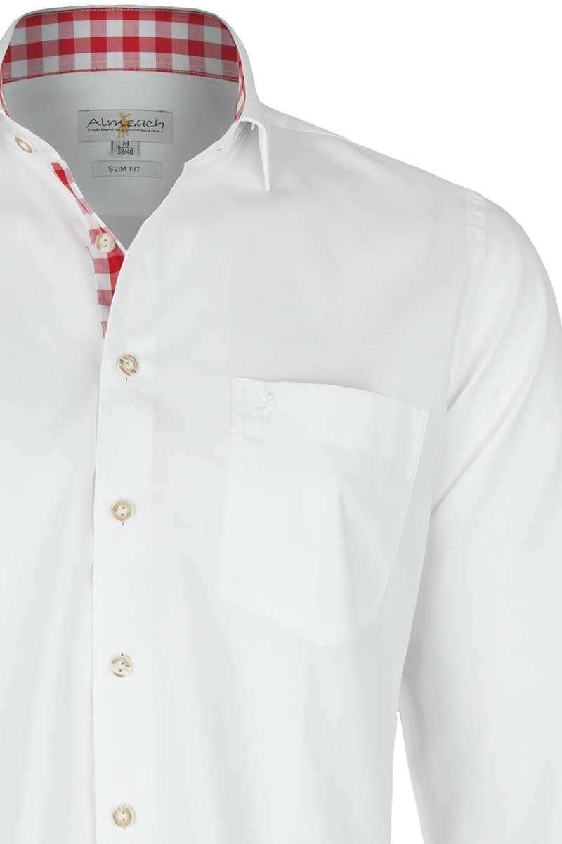 hemd slim fit wei mit karierten details rot slim fit. Black Bedroom Furniture Sets. Home Design Ideas