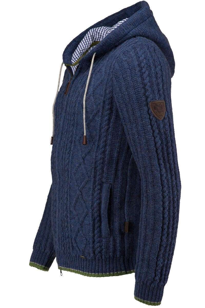 Strickjacke mit Zopfmuster und Kapuze blau