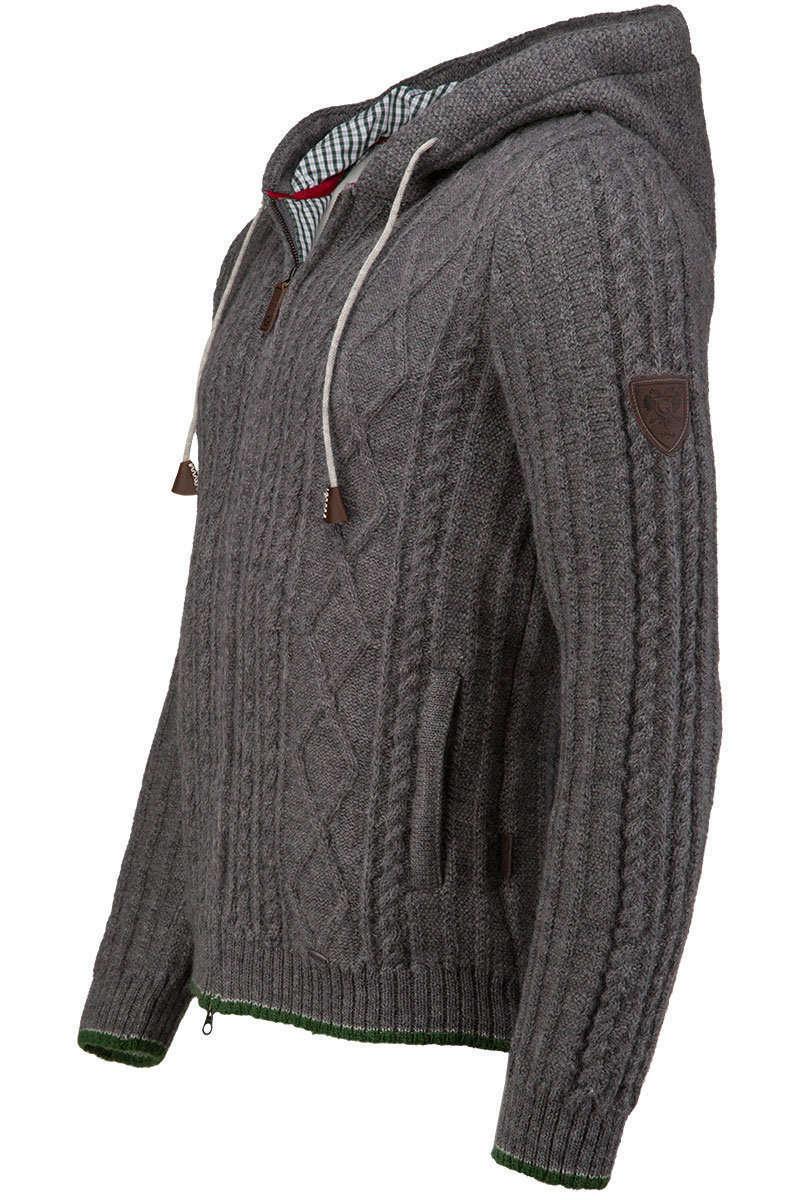 strickjacke herren grau mit kapuze long sweater jacket. Black Bedroom Furniture Sets. Home Design Ideas