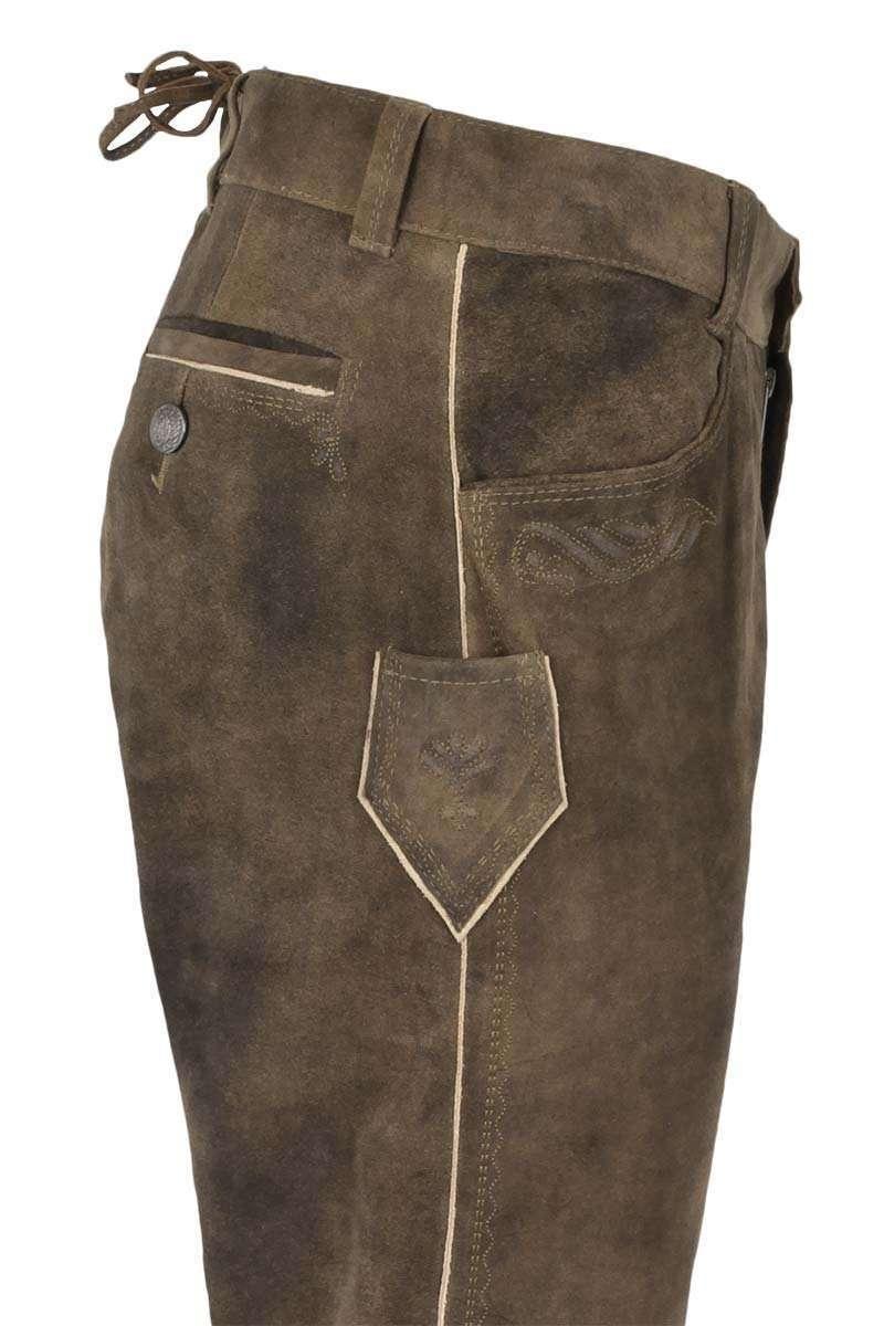 Trachten Lederhose lang Wildbock Antik braun - Lange Lederhosen ... 40fa62ba6e