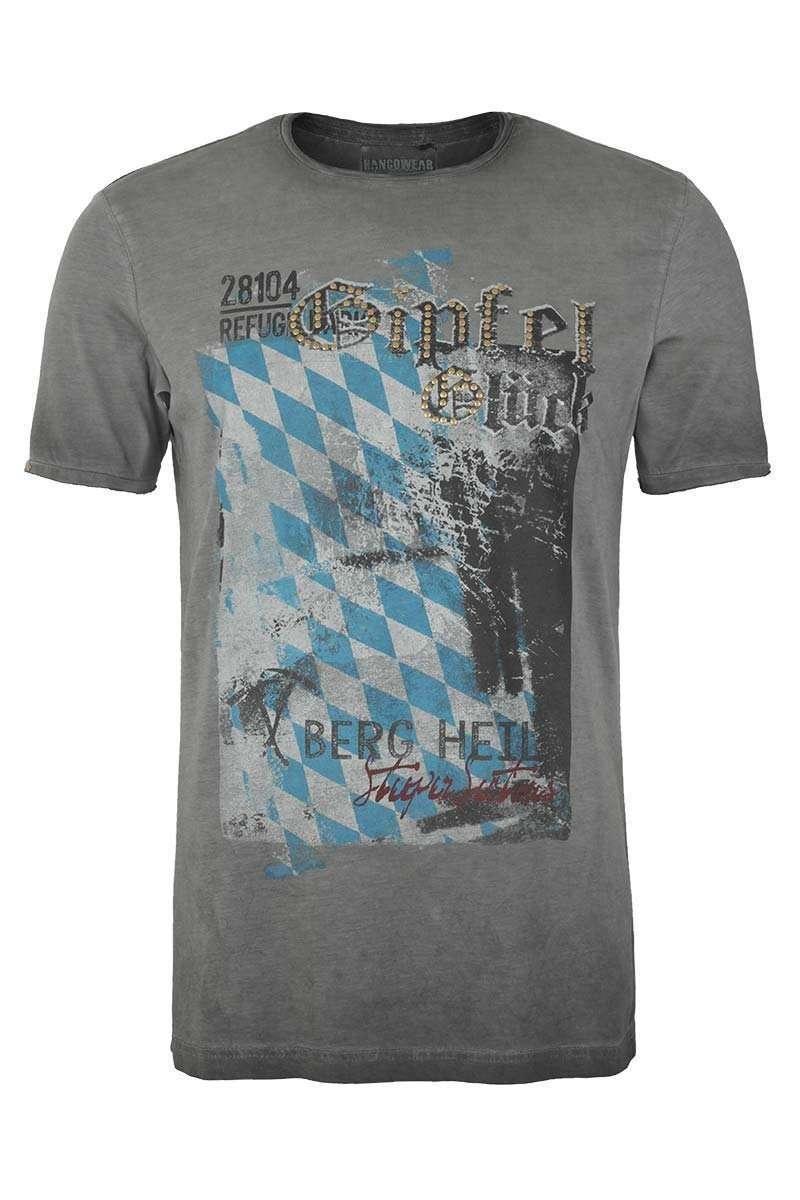 51c7eabee992eb Trachtenshirt Rundausschnitt Gipfel Glück anthrazit - Trachtenshirts ...