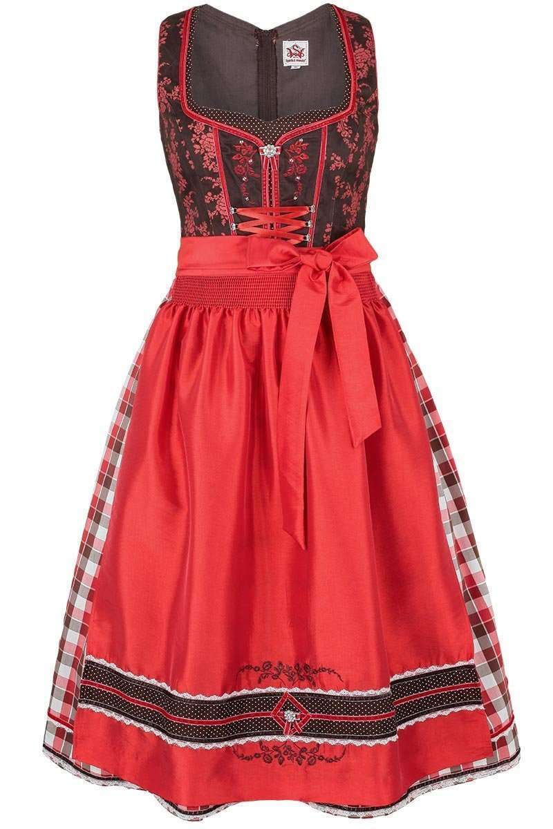 dirndl mittel braun rot dirndl midi damen trachten. Black Bedroom Furniture Sets. Home Design Ideas