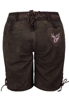Damen Lederhose kurz mit Stickerei braun - Trachten Lederhosen ... 2e6b264c9f